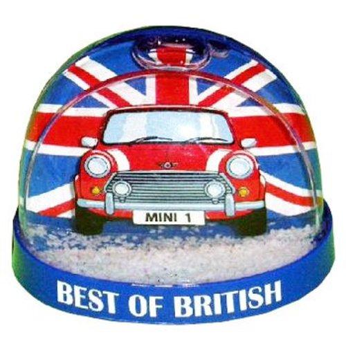 Best of British Red Mini Cooper Snow Globe Magnet