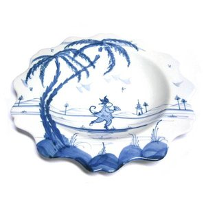 Isis Ceramics Isis Blue Playful Monkeys - Candace - Scallop Dessert Plate
