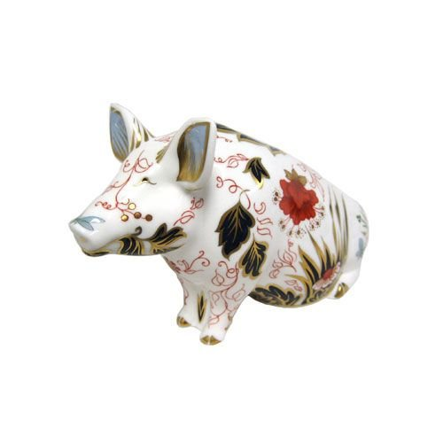 Royal Crown Derby Pig Money Box - Retired