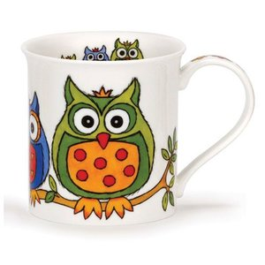 Dunoon Dunoon Bute Life's a Hoot Mug - Green / Orange