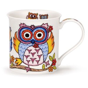 Dunoon Dunoon Bute Life's a Hoot Mug - Pink / Blue