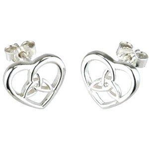 Solvar Solvar Silver Heart & Trinity Knot Stud Earrings