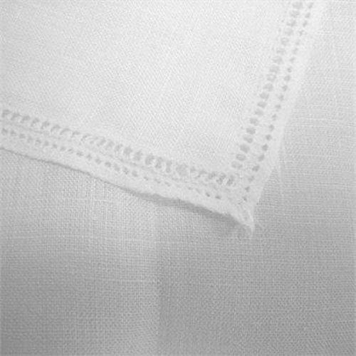 Ulster Linen White Two Row Spoke Unisex Handkerchief