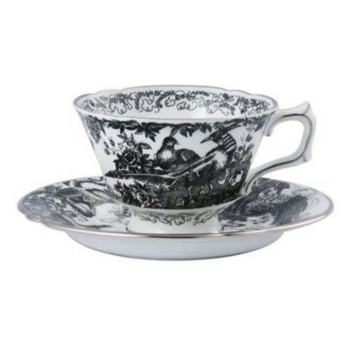 Royal Crown Derby Black Aves Teacup and Saucer