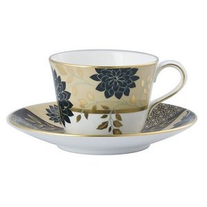Royal Crown Derby Kimono Taupe Teacup and Saucer - DISCONTINUED