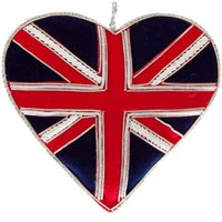 St. Nicolas Sparkly Union Jack Heart Ornament