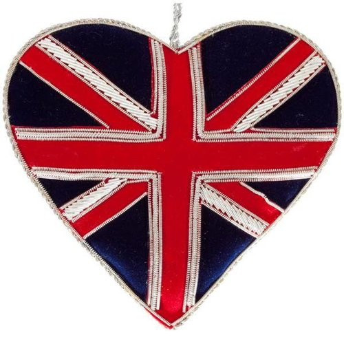 St. Nicolas St. Nicolas Sparkly Union Jack Heart Ornament