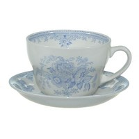 Asiatic Pheasants Blue Breakfast Mug and Saucer