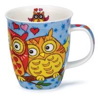 Nevis Light Blue Owls Mug