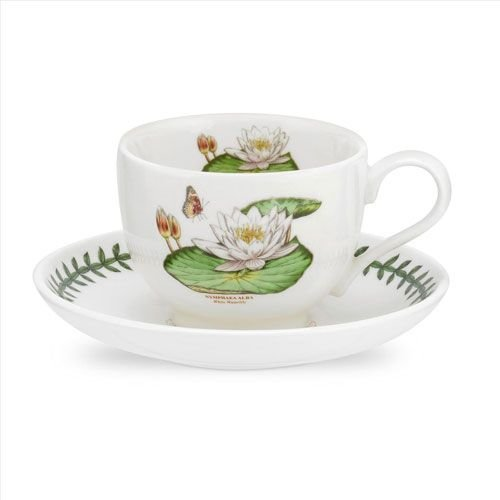 Portmeirion Exotic Botanic Garden Teacup & Saucer - White Waterlily