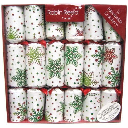 Robin Reed Multi Glitter Snowflakes Christmas Crackers - 12 Count