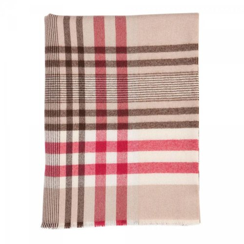 Johnstons of Elgin Johnstons Extra Fine Merino Contemporary Check Throw - Raspberry