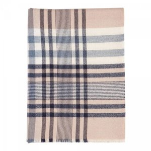 Johnstons of Elgin Johnstons Extra Fine Merino Contemporary Check Throw - Navy