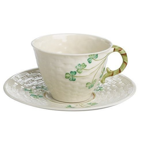 Belleek Belleek Shamrock harp Teacup & Saucer Set