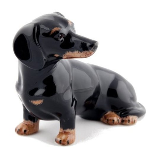 Quail Ceramics Quail Dachshund Money Box (Black/Tan)