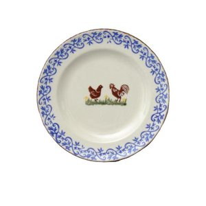 Brixton Pottery Hen and Cock Dessert Plate