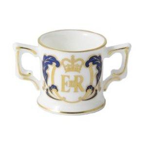 """Royal Crown Derby Queen Elizabeth II's 90th Birthday 1.25""""  Mini Loving Cup - Ltd Edition Of 426"""