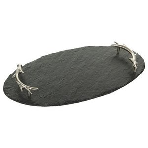 Slate Oval Serving Tray, Antler Handles