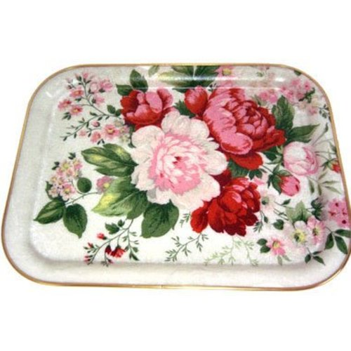 "Keswick & Arnold Designs Service Trays Keswick & Arnold Designs Red Peony 16""x13"" Rectangular Tray"