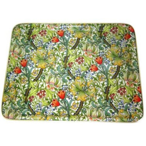"Keswick & Arnold Designs Service Trays Keswick & Arnold Designs Golden Lily Green 14""x11"" Rectangular Tray"