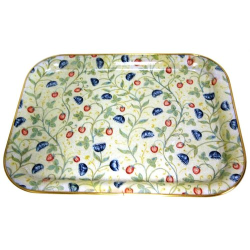 "Keswick & Arnold Designs Service Trays Keswick & Arnold Designs Strawberry & Cornflower 17""x13"" Rectangular Tray"