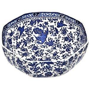 Burleigh Pottery Regal Peacock Blue Hexagonal Bowl