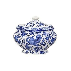 Burleigh Pottery Regal Peacock Blue Sugar Bowl