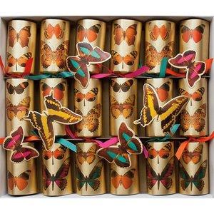Caspari Caspari Christmas Crackers - Deyrolle Butterflies - 6 Count