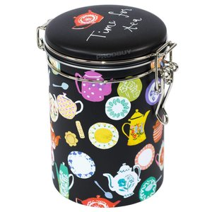 Elite Tins Elite Tins Tea Time Round Clip Lid Caddy