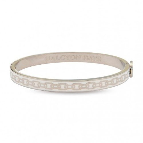 Halcyon Days Halcyon Days Slim Chain Bangle - Cream and Palladium