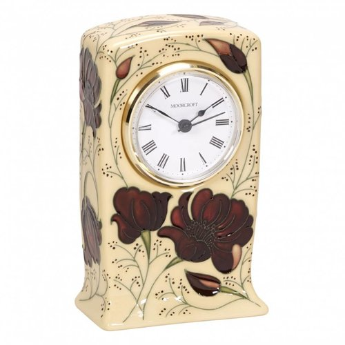 Moorcroft Pottery Moorcroft Chocolate Cosmos Clock CL1