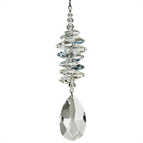 Crystal Suncatcher - Ice Crystal with Almond Pendant
