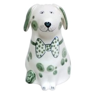 Rye Pottery Rye Dog - Green With Bowtie