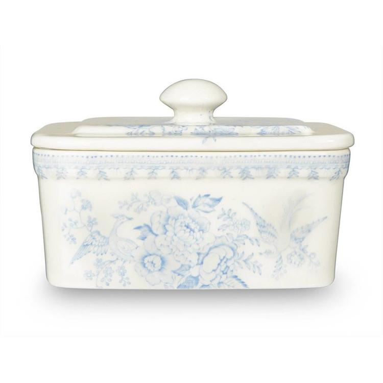 Burleigh Pottery Asiatic Pheasants Blue Butter Dish