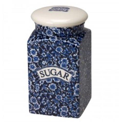 Burleigh Pottery Calico Blue Square Storage Jar - Sugar