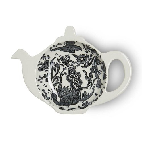 Burleigh Pottery Regal Peacock Black Mini Teapot Tea Bag Holder - Boxed