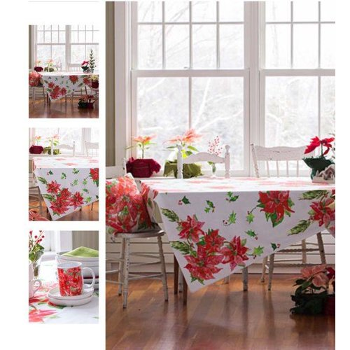 April Cornell Poinsettia Tablecloth 60x90