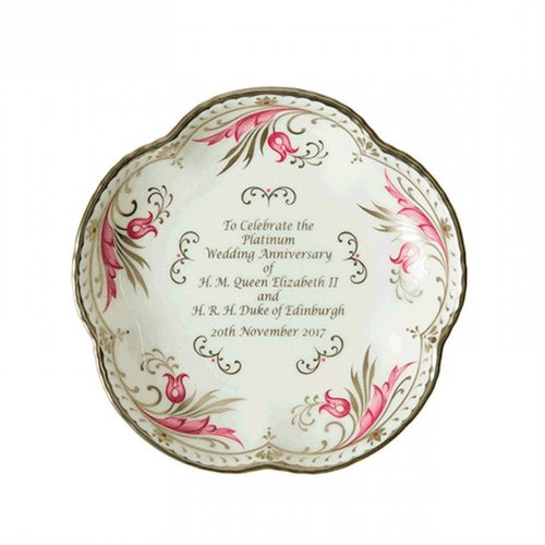 Royal Crown Derby Queen Platinum Wedding Anniversary Five Petal Tray