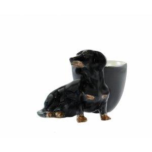Quail Ceramics Quail Dachshund Egg Cup (Black & Tan)
