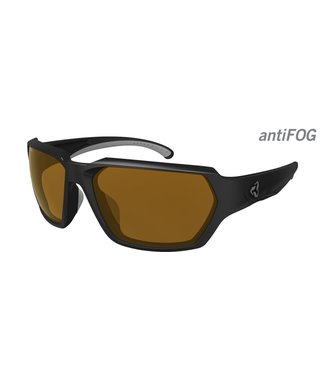 Ryders Face Poly Glasses - Matte Black - Grey / Brown Lens Anti-Fog