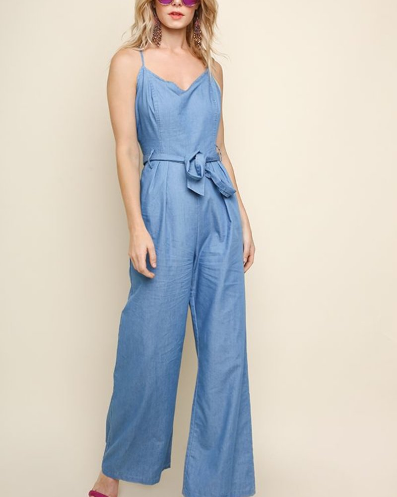 The Brittany Denim Criss Cross Jumpsuit