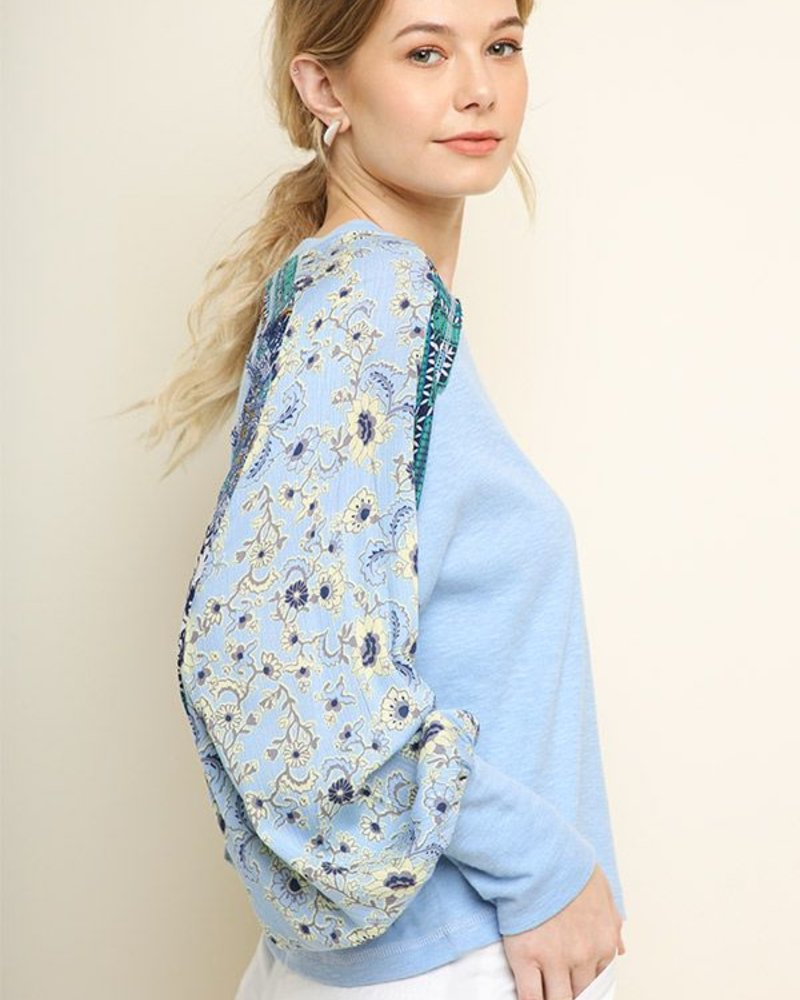 The Alexis Patterned Sleeve Top
