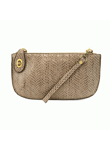 Python Mini Crossbody Wristlet Clutch- Natural