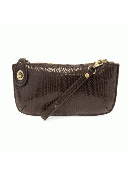 Python Mini Crossbody Wristlet Clutch- Chocolate