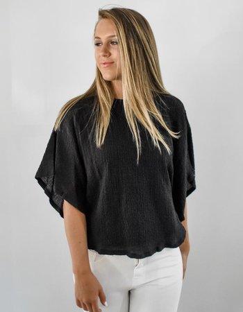 The Joanna Crinkle Top in black