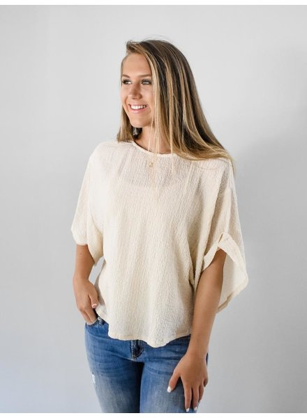 The Joanna Crinkle Top in sand