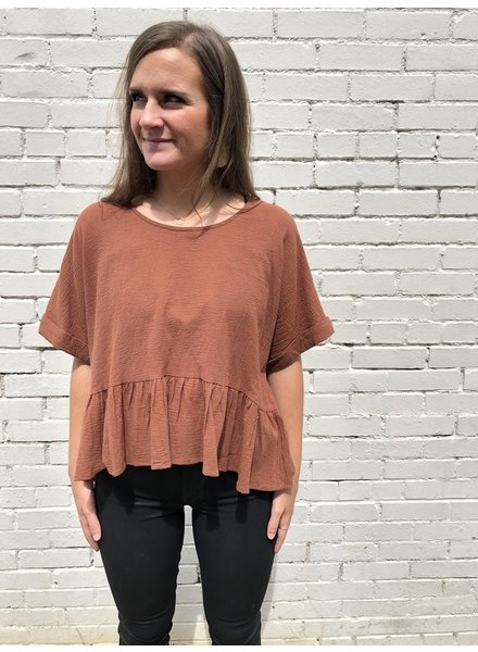 The Ruth Peplum top in Clay