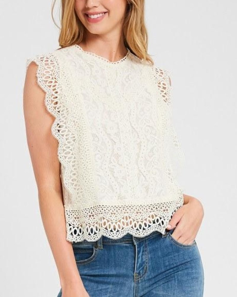 The Anastasia Lace Top in Cream