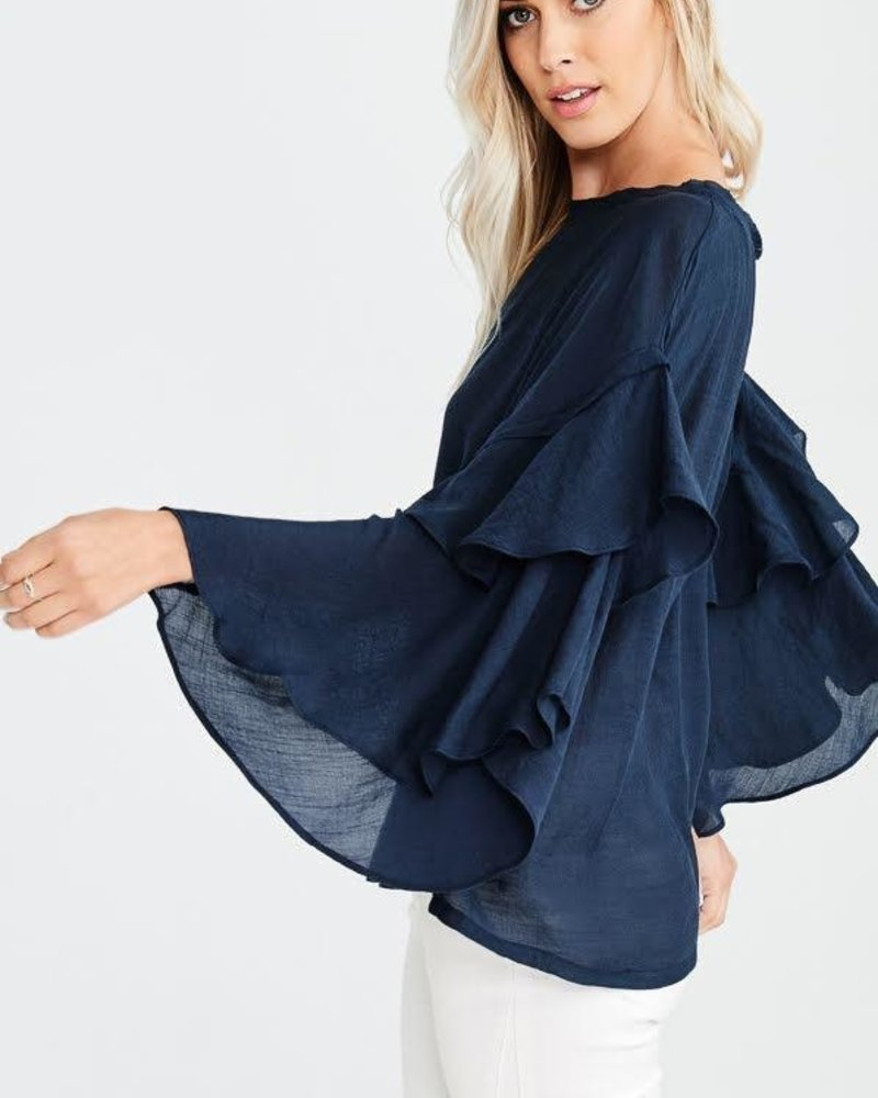 The Connie Ruffle Sleeve Blouse in Navy