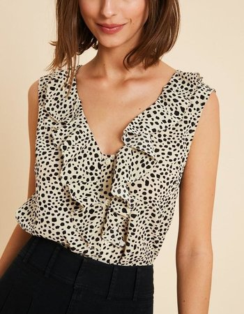 The Willow Spotted Ruffle Tank